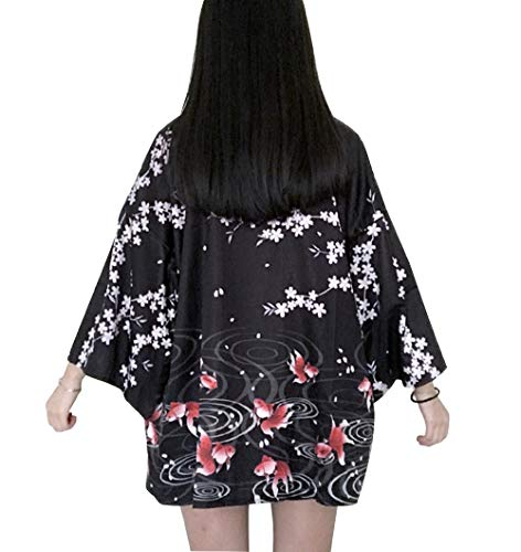 Women's 3/4 Sleeve Loose fit Japanese Shawl Kimono Cover up Onesize US - Kimono Women Japanese