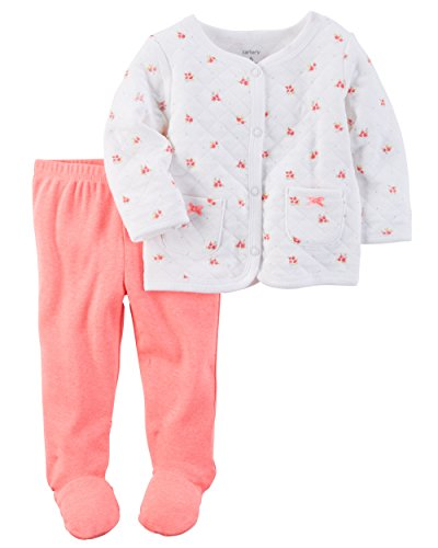 (Carter's Baby Girls' 2-Piece Quilted Cardigan and Pants Set Preemie)