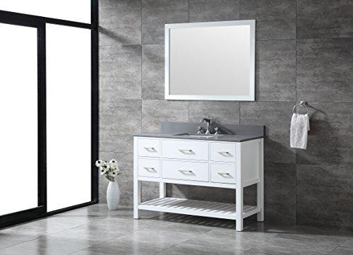 White Wood Vanity Top (All-Wood Diamond White Open Shelf Vanity (48-Inch, Grey Quartz Top))