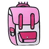 JAGENIE 3D Jump Style 2D Drawing from Cartoon Paper Backpack Shoulder Bag Comic Bookbag Pink