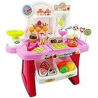 Tabu Toys World Luxury Supermarket Shop - Pink, Candy Sweet Shopping Cart, Ice Cream Supermarket Role Play Set Toy for Kids