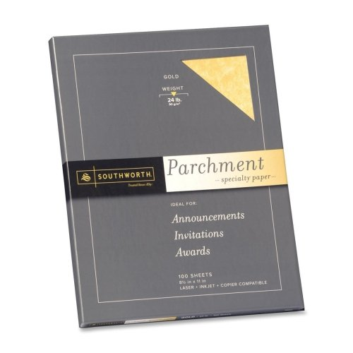 Southworth Parchment Paper - Letter - 8.50'' x 11'' - 24 lb - Parchment - 100 / Pack - Gold by Southworth