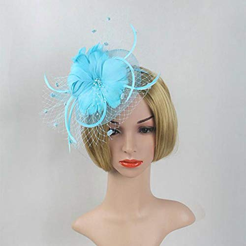 Women Flower Veil Fascinator Wedding Church Kentucky Cocktail Feather Headband (Color - Lake blue)