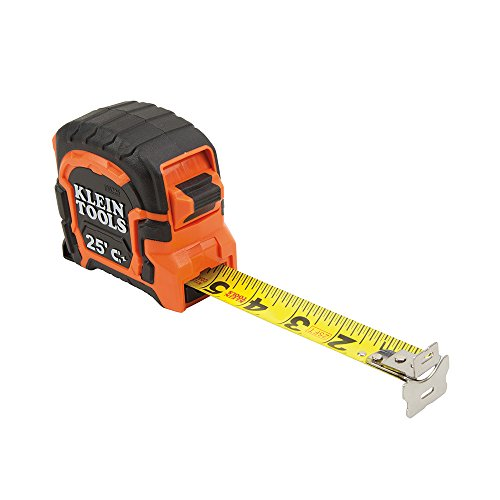 Tape Measure, 25-Foot Double Hook Magnetic with Finger Brake, Easy to Read Bold Lines Klein Tools 86225 ()