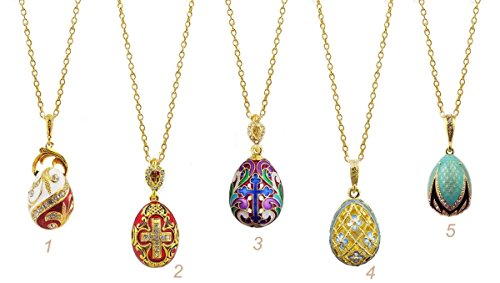 Enamel Egg Pendant - Gold Toned Sterling Silver and Enamel Egg Pendant, 1 Inch, Set of 5 (Cross)