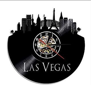Hbbhbb Horloge Murale Record de Vinyle de Las Vegas Horloge d'art de la Ville rétro Skyline 12 Pouces