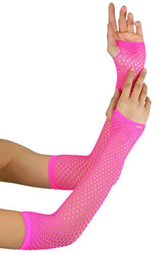 ToBeInStyle Women's Triangle Net Fingerless Gloves - Neon Pink - One Size]()