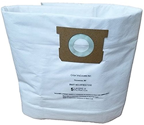 CASA VACUUMS replacement for Shop-Vac 9067200 10-14 Gallon Type I + Type F compatible High Efficiency Disposable HEPA FILTRATION Collection Bag, 3-Pack by Casa Vacuums by Casa Vacuums (Image #2)