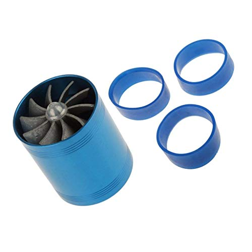 FashLady 65mm Fuel Gas Saver Air Filter Intake Double Supercharger Turbine Turbo Fan: