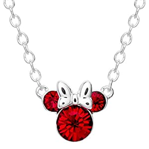 Best Epic Trends 41lgMH7MXML._SS300_ Disney Minnie Mouse Crystal Birthstone Silver Plated Pendant Necklace