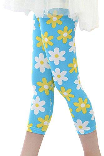 SportsWell Girls Kids Printing Flower Leggings Toddler Cropped Capris Pants