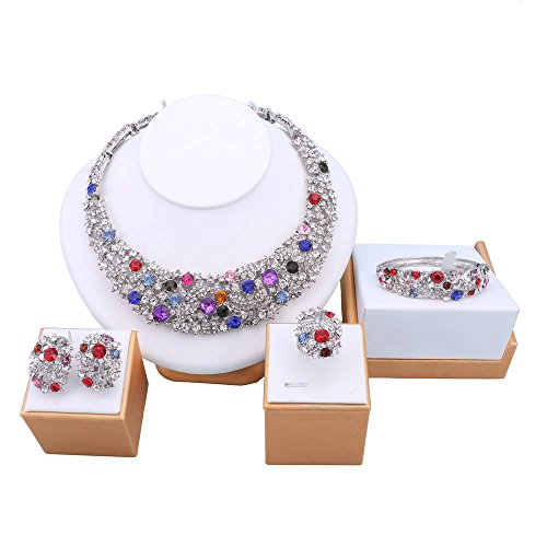 Collectable Costumes Jewerly - OUHE Color Crystal Chain Necklace Ring