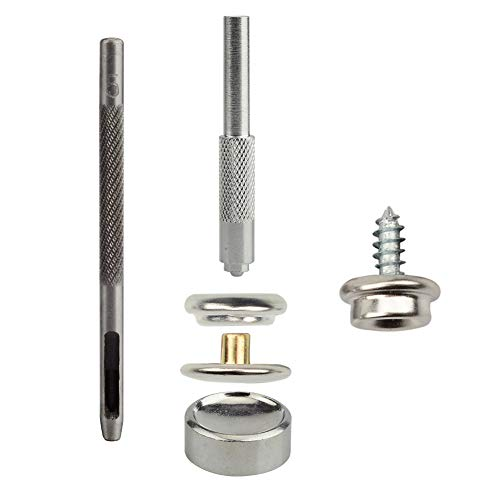 - 33 Pieces Canvas Snap Kit Tool,Stainless Steel Marine Grade Fastener Screw Snap,3/8