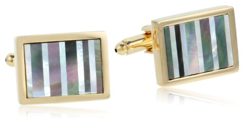 Stacy Adams Men's Gold Cuff Link W/mop & Abalone Stripes, One Size
