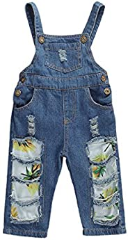 Ouyinyi Toddler Baby Girls Casual Ripped Holes Denim Suspender Pants Overalls Long Jeans Playsuits
