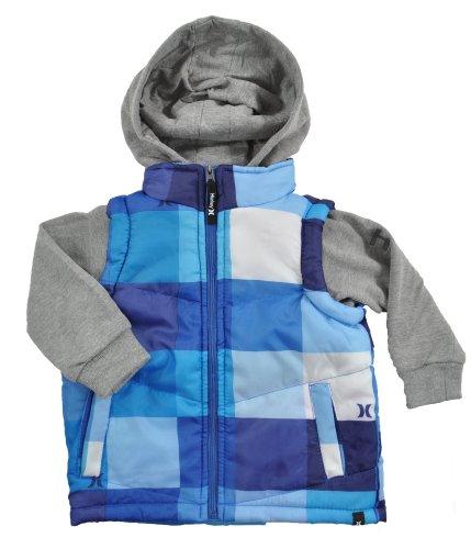 Hurley Infant Boys Plaid Grey Heather & Blue Hoodie Jacket