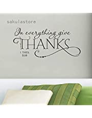 CHOUREN Family Bless Everything Give Thanks Bible Quote Wall Decals Classic Christian Wall Stickers,Variation:as shown