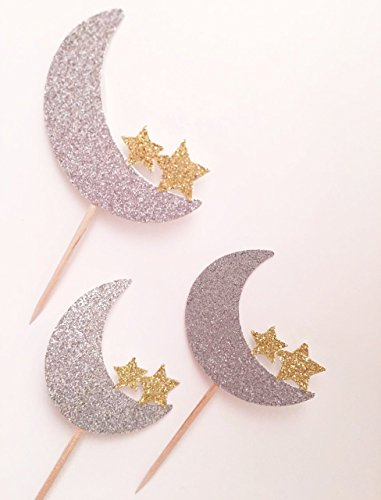 Moon and Star Cupcake Toppers, Twinkle Twinkle Little Star Party Decorations, Love You to the Moon and Back Party, Crescent Moon Party, Star Baby Shower, Twinkle Little Star Cupcake (Moon And Stars Baby Shower Theme)