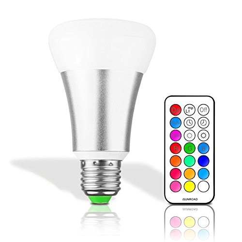 Lemonbest Dimmable 10W E27 RGBW LED Light Bulb IR Remote Control Colors Changing Party Stage LED Lamp Lighting (Silver)