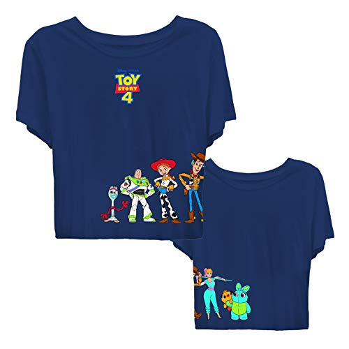 Ladies Toy Story Fashion Shirt - Ladies Classic Toy Story Tee - Buzz Lightyear and Woody Crop Top Tee (Navy, X-Large)