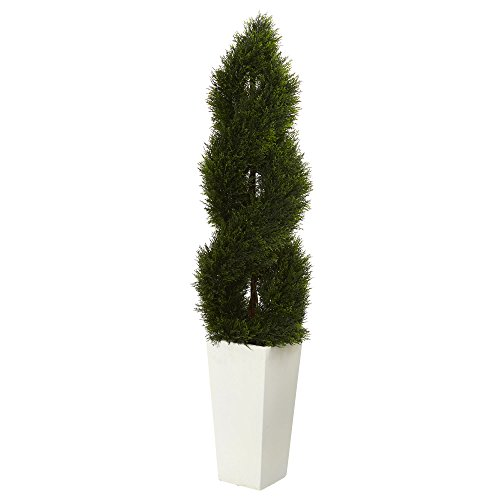 Nearly Natural White Tower Double Pond Cypress Spiral Topiary Planter 5.5' ()