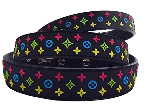 Lushpetz Designer Black Waterproof Dog Collar Also Pink Brown Red White for XSmall Small Medium Breeds (XS Black) (Glam Collar)