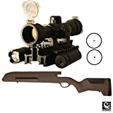 ATI Mauser 98 Rifle Scorpion Recoil Buttpad, Weaver Scope Mount & Cheek Rest Stock, Woodland Brown + Ultimate Arms Gear Dual Red & Green Dot Scope Flip Up Lens Covers + Flashlight Light + Laser