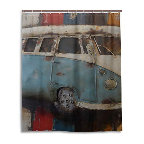 DNOVING Shower Curtain Car Art Painting Volkswagen Shower Stall Polyester Bathroom Bath Curtain Valance 60x72 Inch