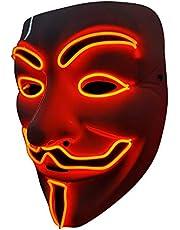SOUTHSKY LED Masker V voor Vendetta Masker EL-draad Oplichten voor Halloween Kostuum Cosplay Feest (wit gezicht blauw neonlicht) (Rood)