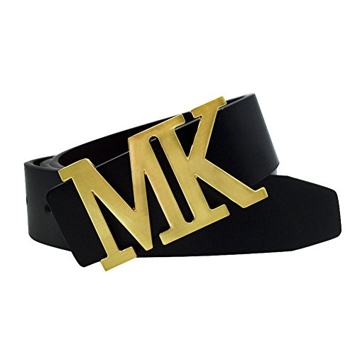 Maikun Mens Leather Dress Belt with Detachable MK Letter Buckle Gold for Waist Size 34-36