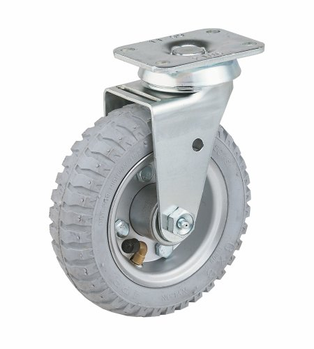Soft Lb 200 Rubber - E.R. Wagner Pneumatic Plate Caster, Swivel, Soft Rubber on Steel Wheel, Ball Bearing, 200 lbs Capacity, 6