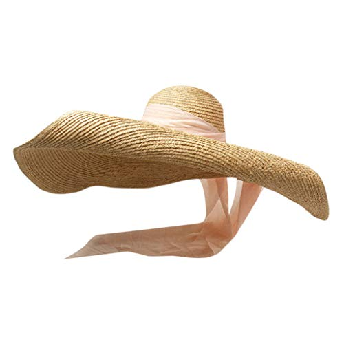 Large Sun Hat with Ribbon Beach Outdoor Anti-UV Head Skin Protection Foldable Straw Cap Cover for Women Mens Pink