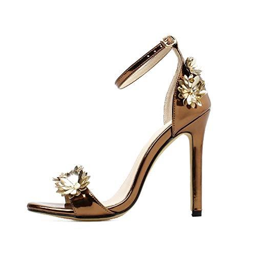 (High Heels Sandals Metallic Pump Ankle Strap Wedding Shoes Goldtone Stiletto Heels,Bronze,6.5)