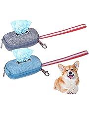 AvoDovA Dog Pet Waste Bag Dispenser, 2 Pack 10×6cm Dog Poop Bags Holder Portable, Pet Diaper Bags Distributor, Dog Cat Poop Bag Container for Walking Running Hiking Travelling