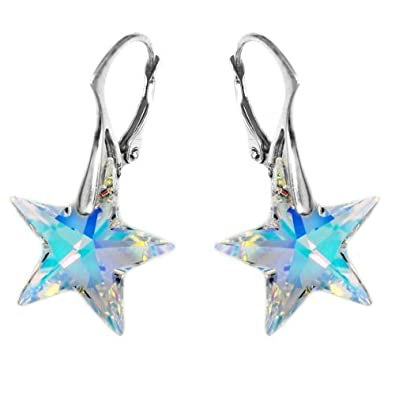 Royal Crystals Made with Swarovski Crystals Aurora Borealis Star Drop Sterling Silver Leverback Earrings for Women and Girls 7KVB6TH