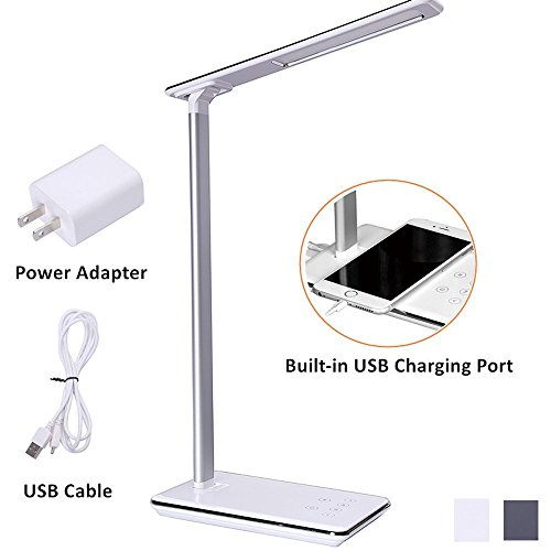 LED Desk Lamp, 4 Light Modes and 5 Level Dimmer Brightness,Memory Function,Sensitive Touch Control,1H/2H Auto Off Timer, USB Charging Port,Aluminum Alloy Body Arm (White)