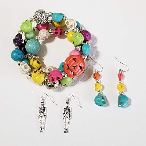 Claire Kern Creations Carved Colorful Skulls Gemstone Beads 3 Strand Halloween Bracelet 2 x Earrings One of a Kind