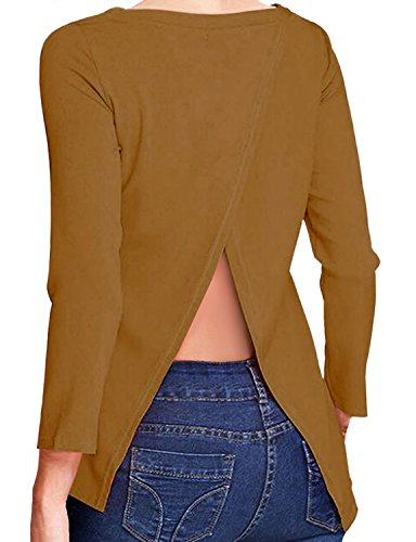 REGNA X BOHO womens athleisure wear athletic tops cold back camel brown large knitted top tops (Shirt L/s Spec)