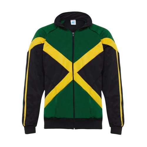 Jacket Track Authentic (Authentic Jamaican Long Sleeved, Reggae Zip Up Jacket - Unisex (Black, Green and Yellow))