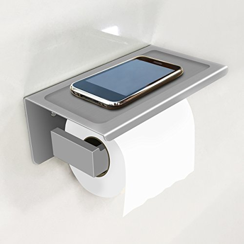 Stainless Steel Finish Phone - Toilet Paper Holder with Phone Storage Shelf Rack SUS304 Stainless Steel Bathroom Tissue Paper Holder Brushed Finish Bathroom Accessories for Home Apartment Hotel
