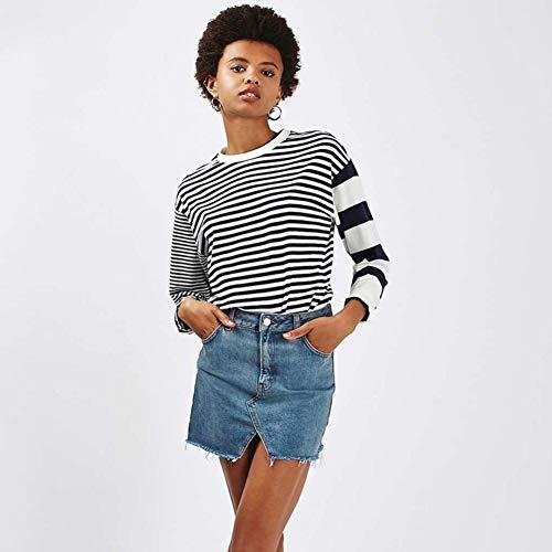 Filles Jupes Denim Sixcup Dessus Femmes Bleu Irrgulier Au Genou Taille Jupe Sexy Mini Longueur Haute Jeans qBHwXa