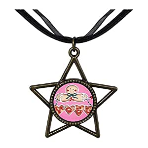 Chicforest Bronze Retro Style Gingerbread Noel Five Pointed Star Pendant