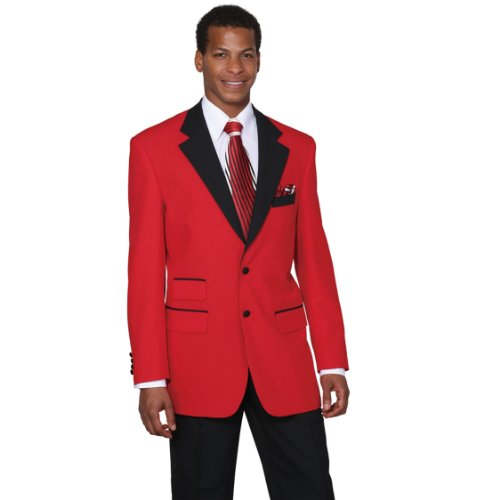 Milano Moda Men's Single Breasted High Fashion Suit 60L Red
