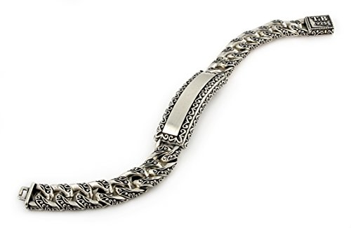 Twisted Blade 925 Sterling Silver Decorated Curb Link Id Bracelet 8'' by Buy For Less