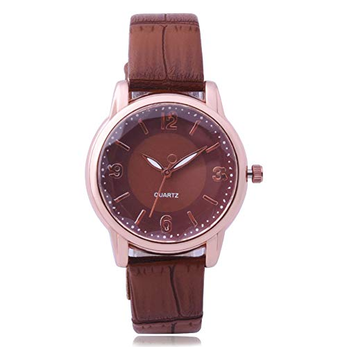 yanbirdfx Faux Leather Band Numerals Scale Analog Round Dial Women Quartz Wrist Watch - Brown