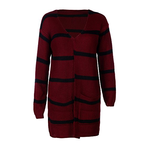 Wine Long Sweater Jacket Coat Womens Stripe Winter Crochet Knitted Autumn Sleeve Tianya Cardigan Fashion Clothing BqcY66