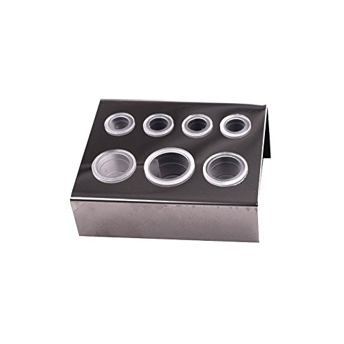 Tattoo Ink Cup Holder 2 Pcs And 14 Pcs Ink Cups Stainless Steel Tattoo Pigment Ink Cup Caps Holder Stand for 7 Caps Machine Supply