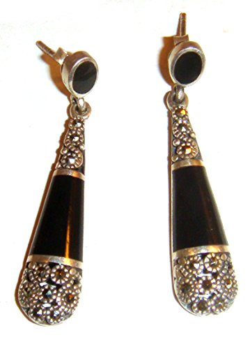 TAXCO .925 Sterling Masquerite Earrings with Onyx Handcrafted from (Mexican Onyx Ring)