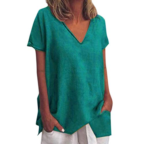Tantisy ♣↭♣ Womens Tops Summer V-Neck Short Sleeve Solid Tee Fashion Swing Casual Flowy Loose Blouses Dark Green