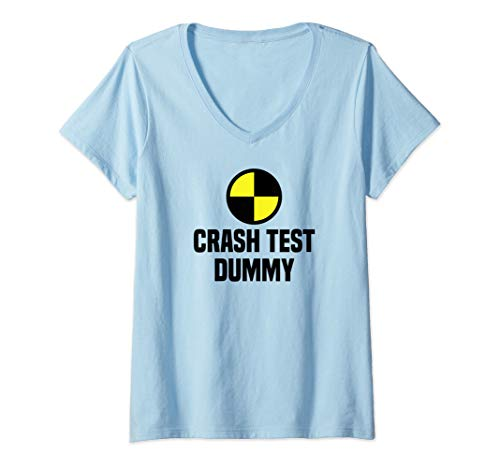 Last Minute Halloween Costume (Womens Funny Crash Test Dummy Easy Last Minute Halloween Costume V-Neck)